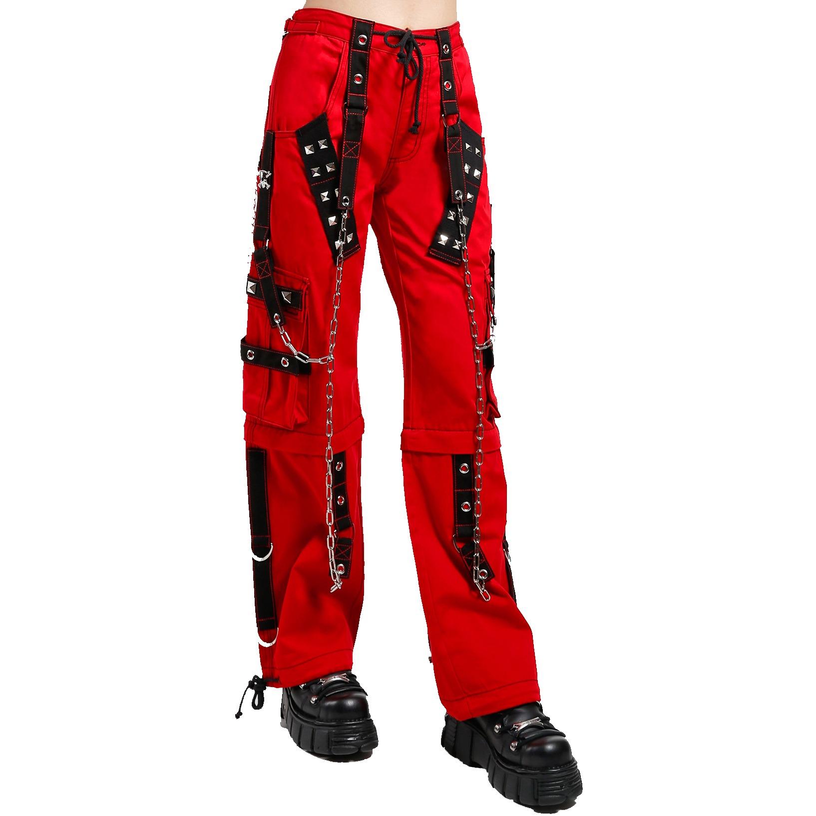 Gothic Bondage Handmade Men Pant Alternative Punk Rock Transformer Trouser Red Baggy/Tripp Pants