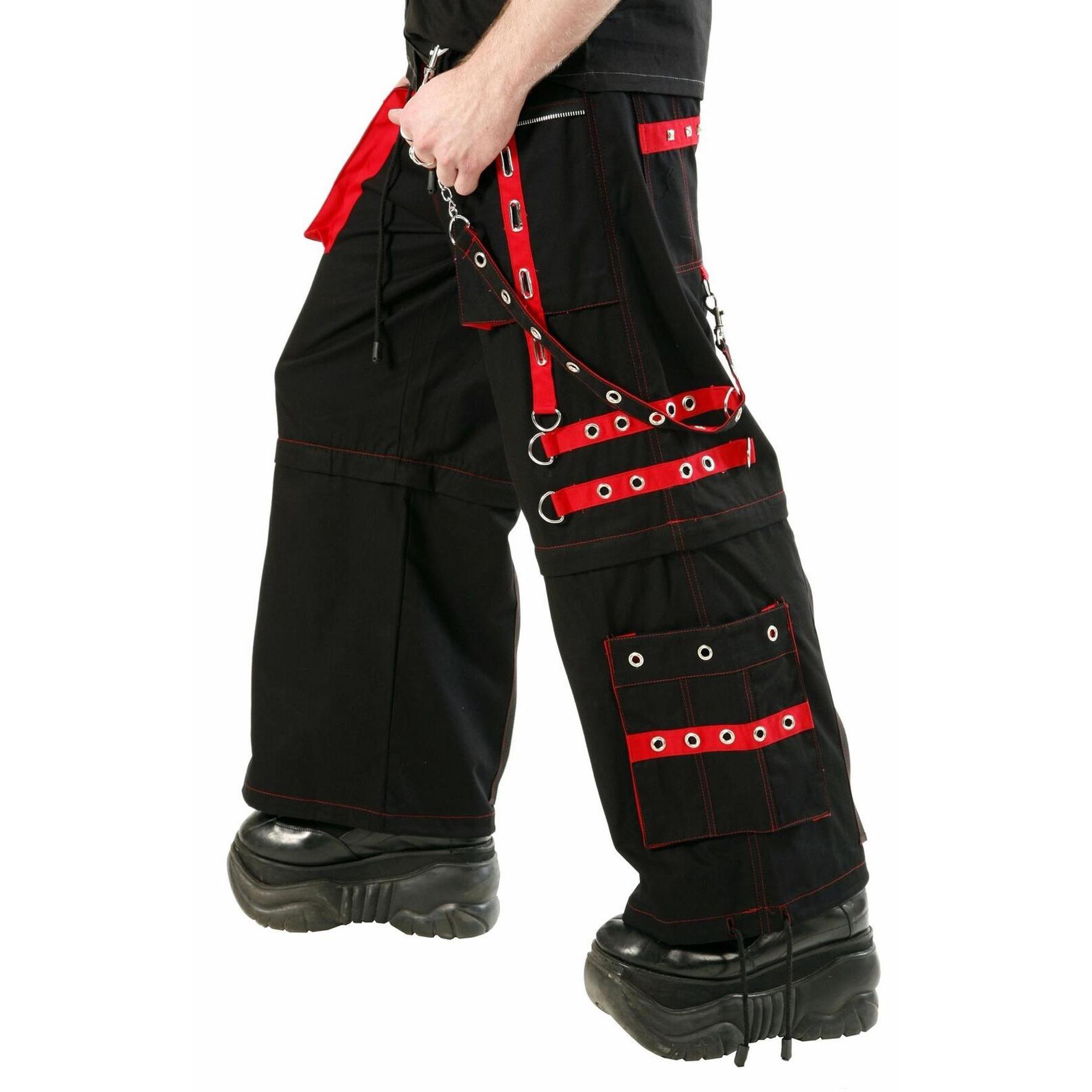 Men,s Gothic handmade Bondage Trouser Punk Rock Transformer Black Red Gothic