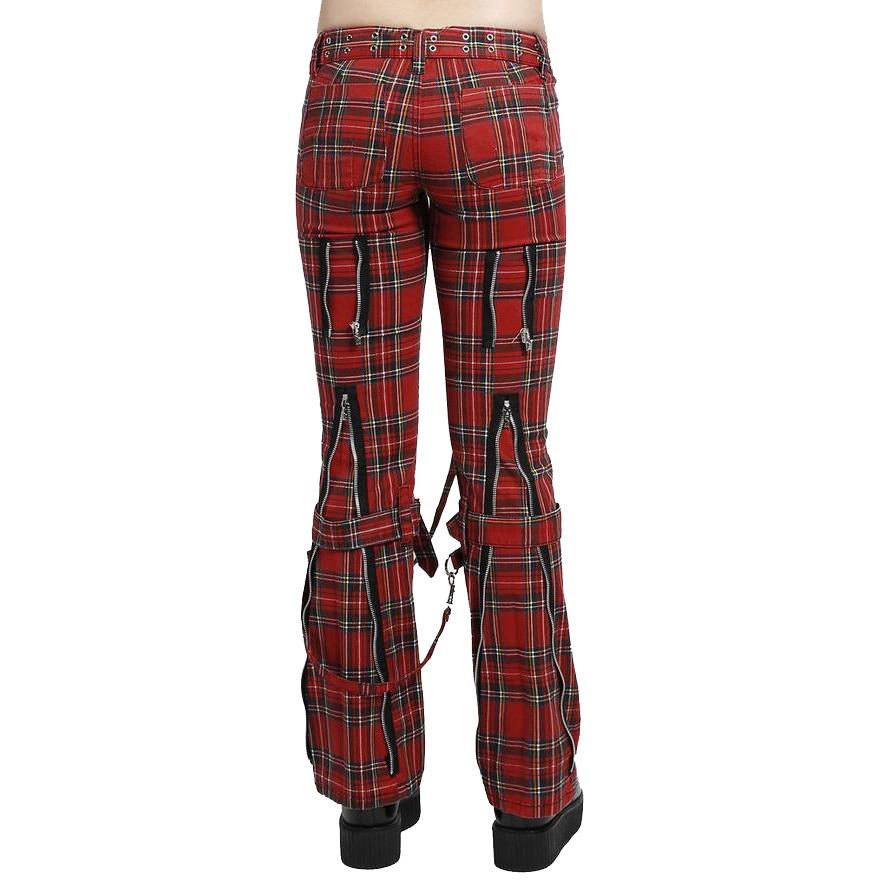 Women,s Bondage Pants Red Plaid