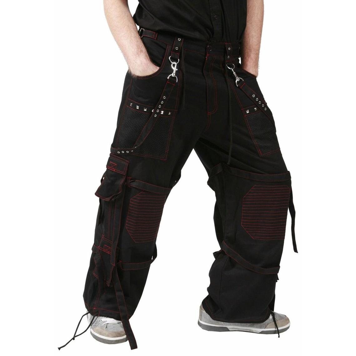 Men,s Gothic handmade Bondage Trouser Punk Rock Transformer Black Red