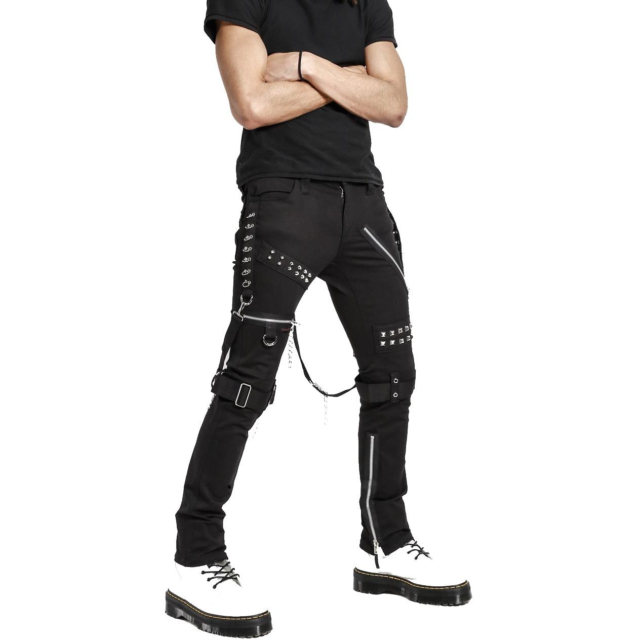 Men's Gothic Bondage Black Tripp Pant Rock Hard Trouser Heavy Weight EMO/PANTS