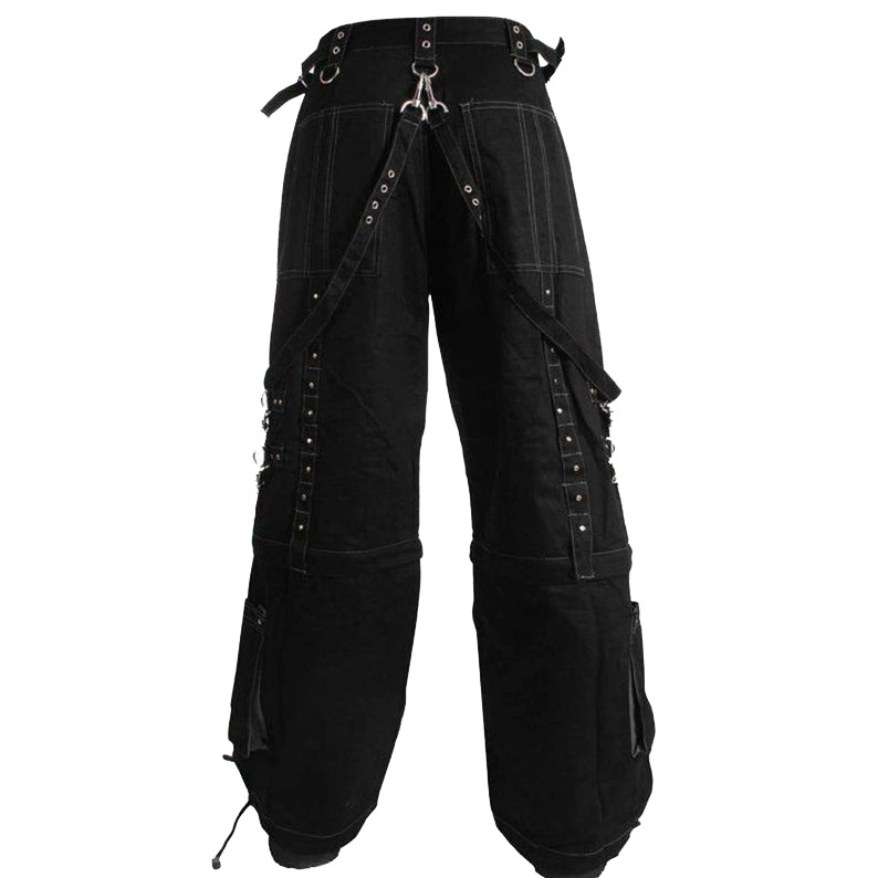 Men Handmade Gothic Bondage Trouser Grey Thread Cyber Pant Punk Shorts Metal Studs Tripp Pants/Gothic Pant