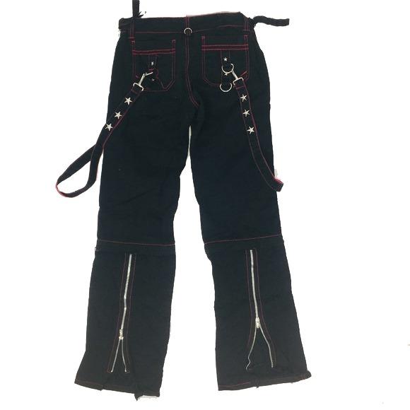 Gothic Men,s Punk Goth Emo Bondage Star Black Red Pants