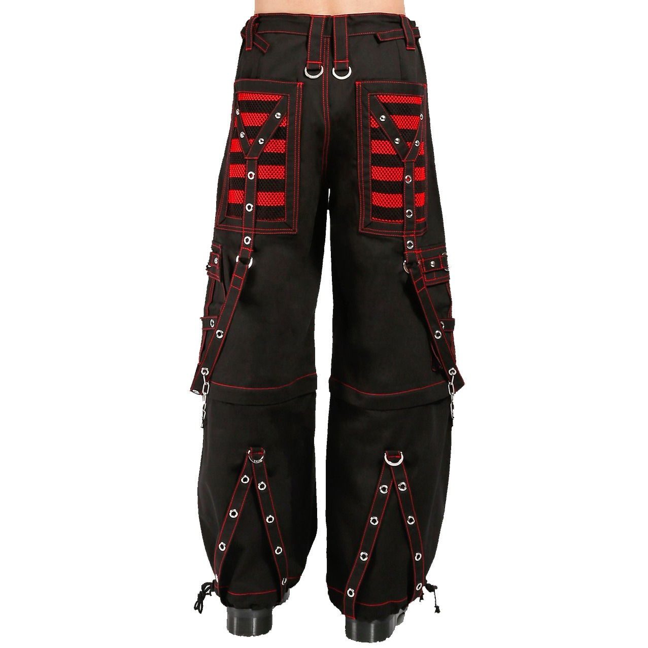 EXTREME BONDAGE SKATER GOTHIC PUNK ROCKER CYBER GOTH BLACK RED STEAMPUNK BIKER TRIPP PANT